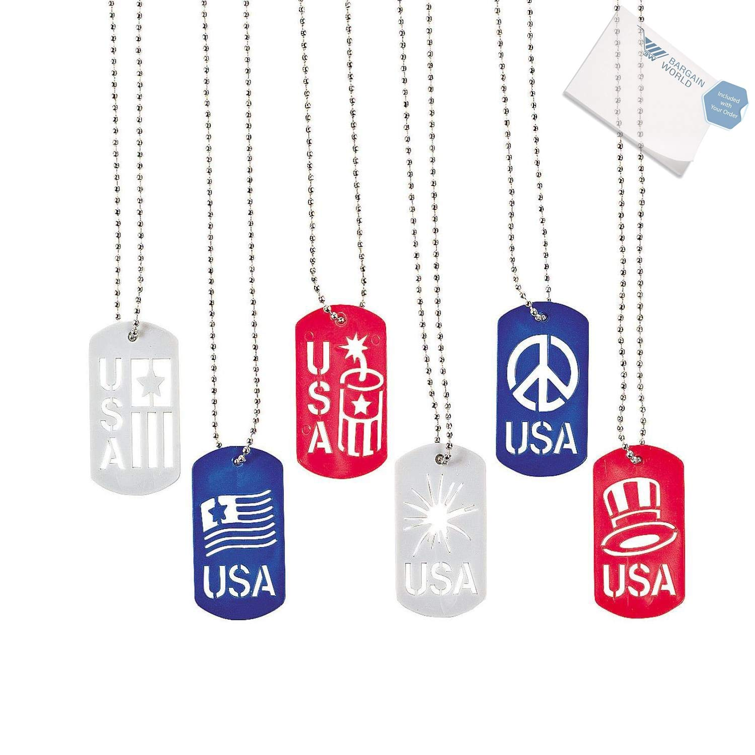 Bargain World Metal Patriotic Cut-Out Dog Tag Necklaces (With Sticky Notes)