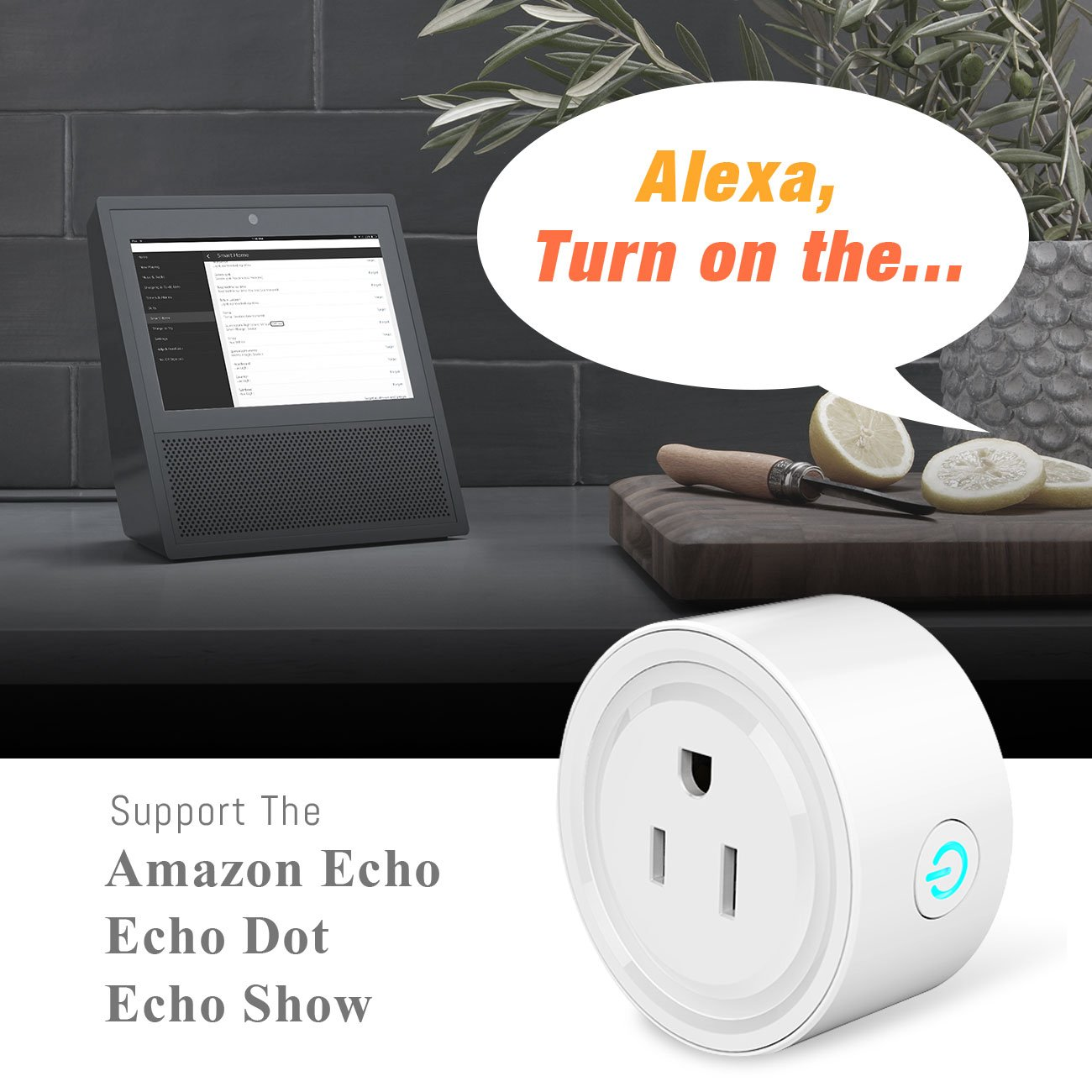 Mini Wifi Smart Plug, eSamcore Remote Outlet Timer Switches, Control your Devices from Anywhere, No Hub Design, Works with Amazon Alexa