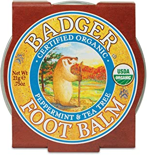 product image for Badger - Foot Balm, Peppermint & Tea Tree, Heel Balm for Dry Cracked Feet, Certified Organic, Foot Balm with Essential Oils, Extra Virgin Olive and Jojoba Oils, 0.75 oz
