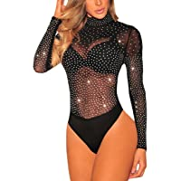 SEBOWEL Damen Sexy Strass Mesh Body Club Party Langarm Bodysuit Bluse Tops