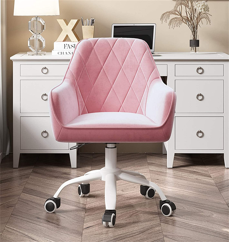 LYJBD sammetstyg dator skrivbordsstol, mellanrygg ergonomisk svängbar stol för vuxna och barn tjock sittdyna höjd justerbar sits Svart