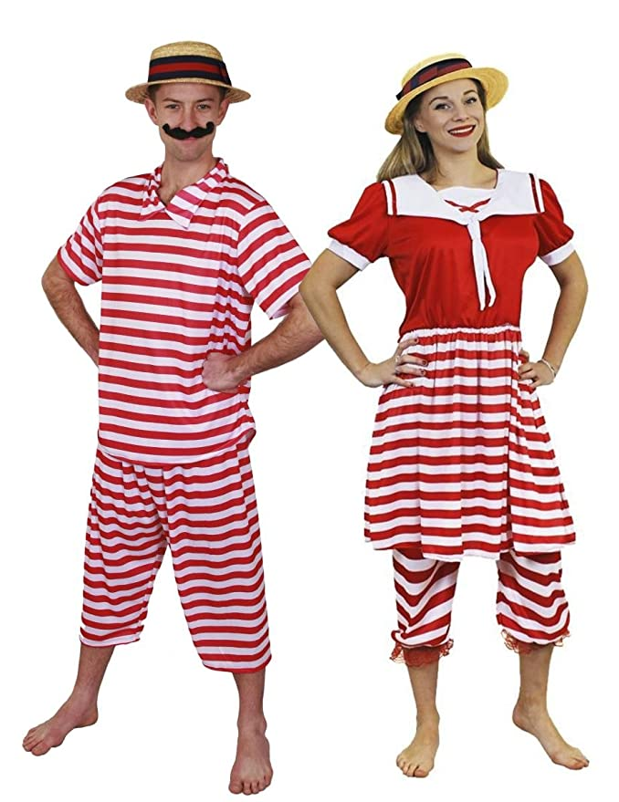 Vintage Men's Swimsuits – 1930s to 1970s History ILOVEFANCYDRESS ADULTS VICTORIAN BATHERS COUPLES COSTUMES - HIS AND HERS 1920S SWIMSUIT VICTORIAN BATHING SUIT COSTUME WITH MATCHING STRAW BOATER HATS (MENS: MEDIUM - LADIES: SMALL) £34.99 AT vintagedancer.com