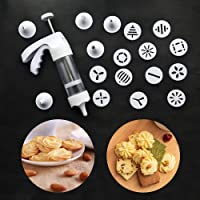 Cookie Press Macaroon Churro Maker - Cookie Press Gun Kit Set Classic Biscuit Maker with 6 icing tips and 12 Decorative Discs, Biscuit Cookie, Cake and Baking