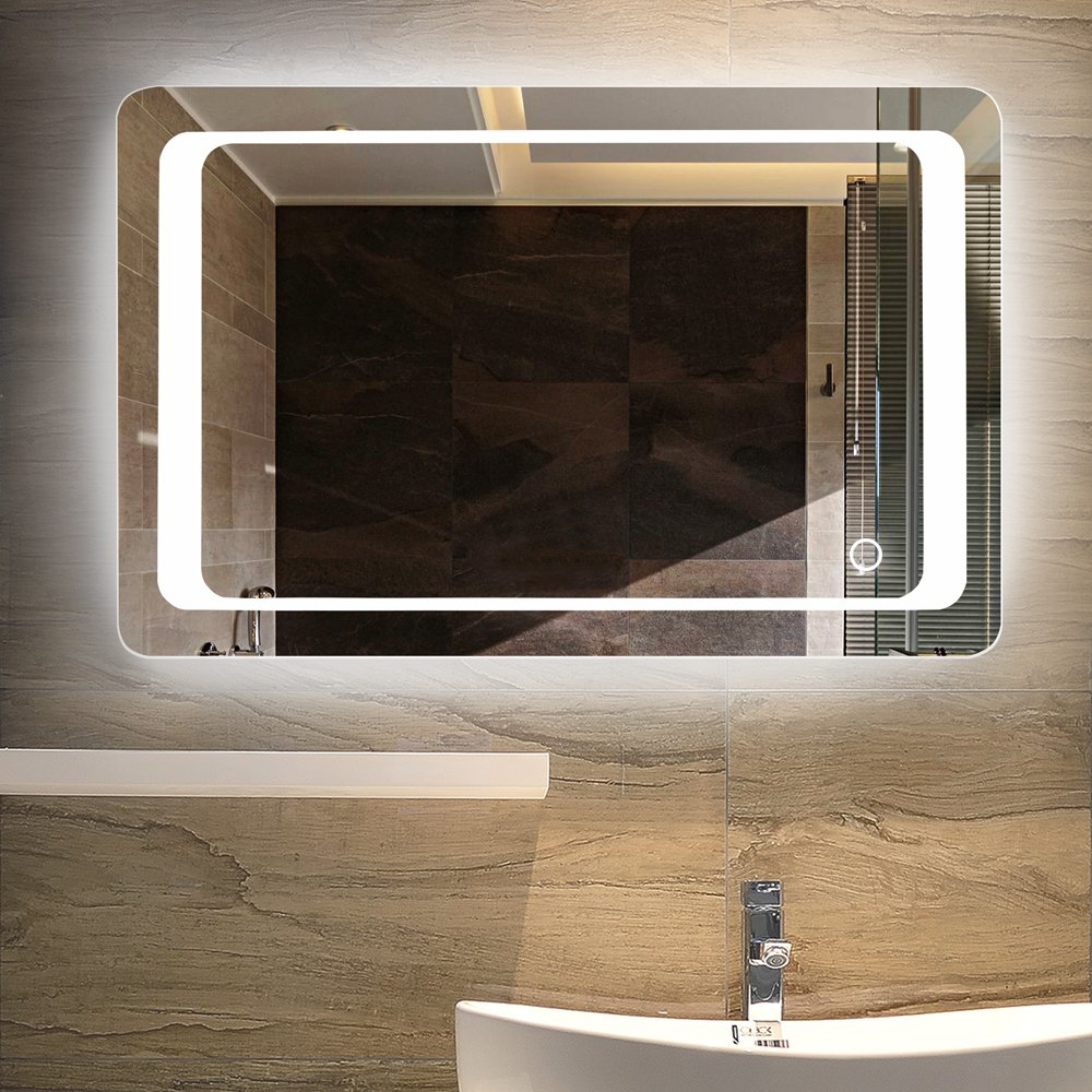 LINSGROUP Dimmable Vanity Bathroom Home/Office LED Lighted Mirror Hanged Two-Way Frameless Backlit Wall Mirror Anti-Fog with Touch Button (32''X24'', White Light 3)