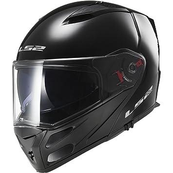 LS2 Helmets Metro Solid Modular Motorcycle Helmet with Sunshield (Gloss Black, Medium)