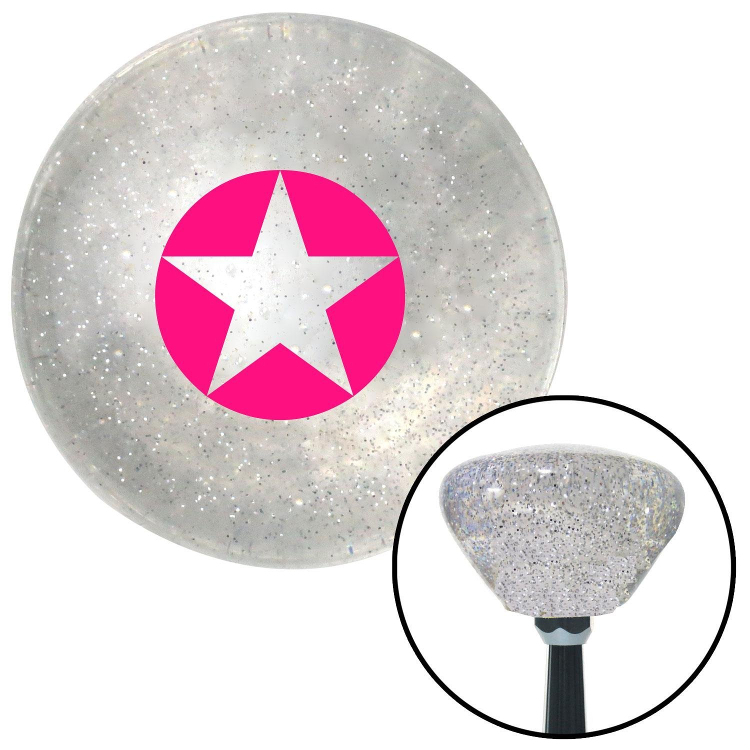 American Shifter 163376 Clear Retro Metal Flake Shift Knob with M16 x 1.5 Insert Pink Star in Circle Outline