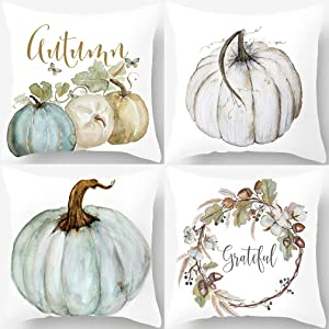 PSDWETS Autumn Decorations Pumpkin Pillow Covers Set of 4 Fall Decor Grateful Thanksgiving Throw Pillow Covers Cushion Cover 18 X 18