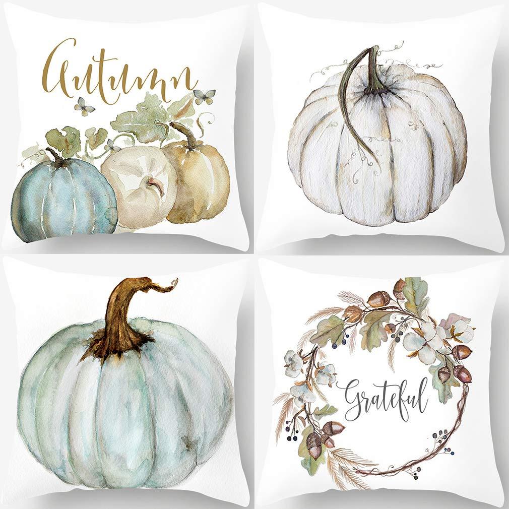 PSDWETS Autumn Decorations Pumpkin Pillow Covers Set of 4 Fall Decor Cotton Linen Grateful Thanksgiving Throw Pillow Covers Cushion Cover 18 X 18