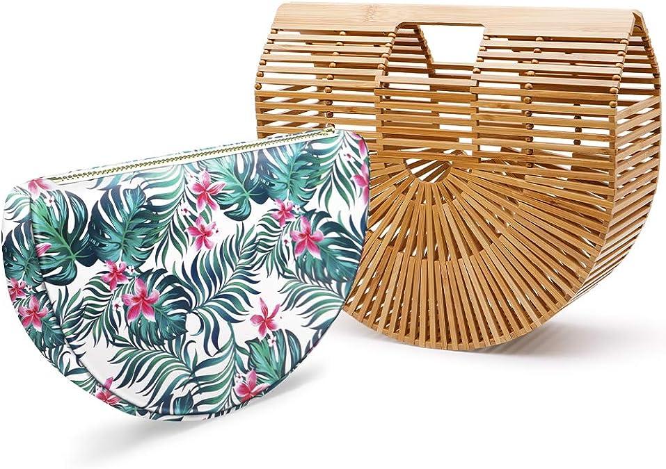 Women Bamboo Purse Handbag Tote Bag by Handmade Straw Natural Basket