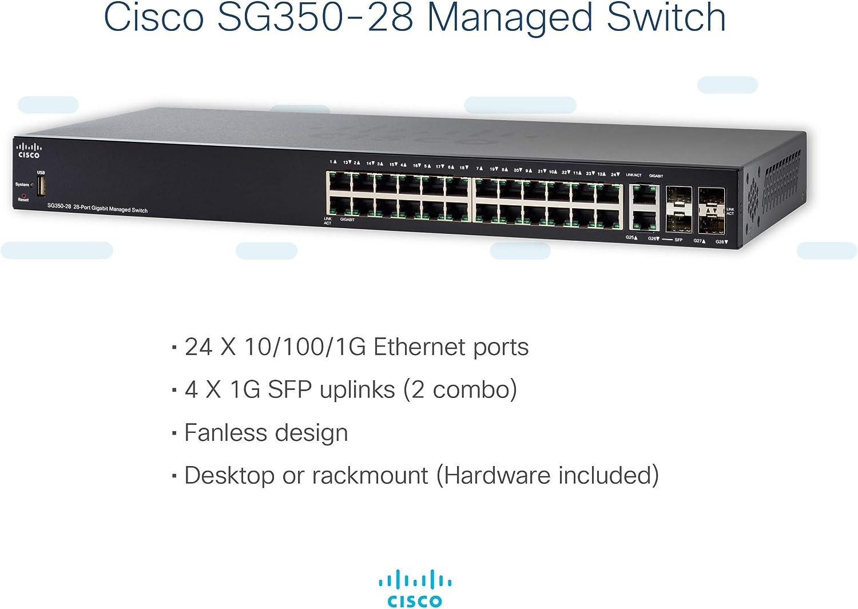 2 Gigabit Ethernet Combo SG350-28-K9-NA Cisco SG350-28 Managed Switch with 28 Gigabit Ethernet Limited Lifetime Protection Ports with 24 Gigabit Ethernet RJ45 Ports plus 2 SFP Slots GbE
