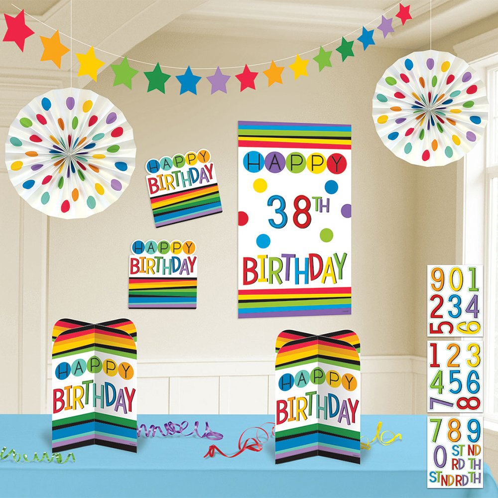 Amazon.com: Arco iris Happy Birthday add-any-age Kit de ...