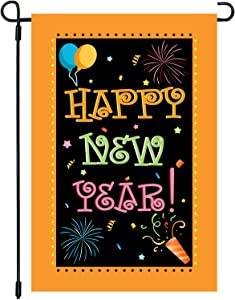 CAVLA Happy New Year Garden Flag 12 x 18 Inch Double Sided Decorative Firework Celebration Party Winter Holiday Farmhouse Yard Outdoor Decoration