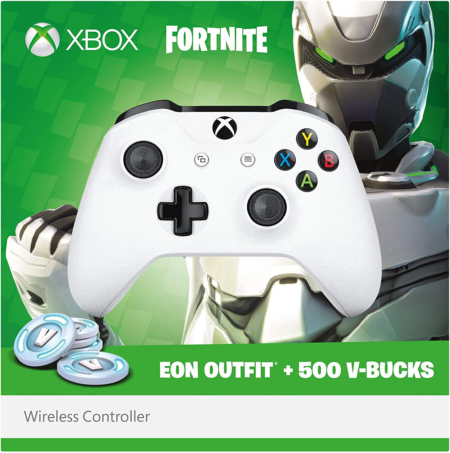 Xbox Wireless Controller - Fortnite Bundle (inkl. EON Outfit + 500 V-Bucks), Weiß, Limited Edition [Importación alemana]: Amazon.es: Videojuegos