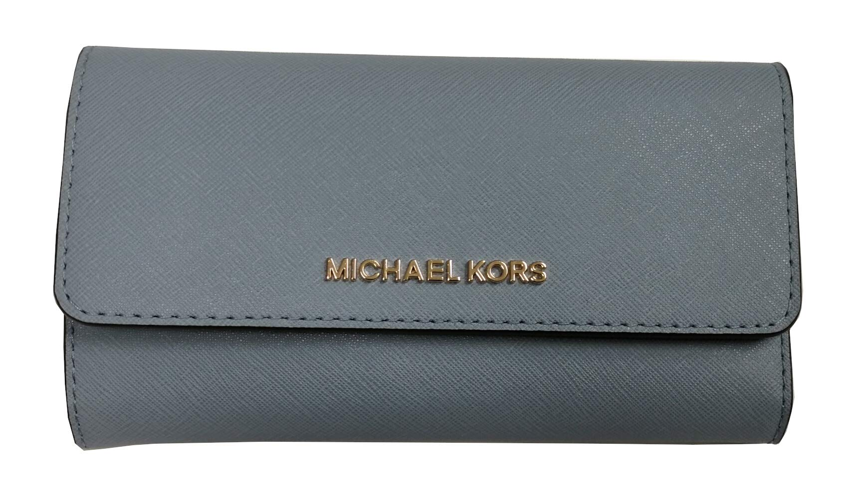 Michael Kors Jet Set Travel Large Trifold Signature PVC Leather Wallet Pale Blue Navy