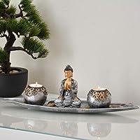 INtrenDU® Portacandele in Decalcomania da 40cm orientali con Figura di Buddha, Pietre Decorative e Due portacandele per la Meditazione