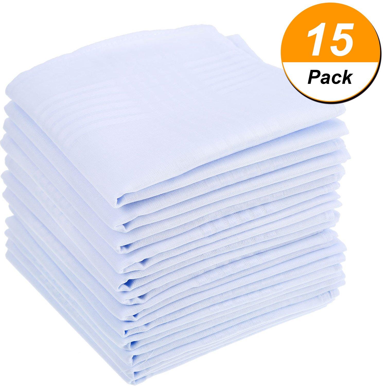 15 Pack Pure White Cotton Handkerchiefs Large Pocket Squares Hankies for men