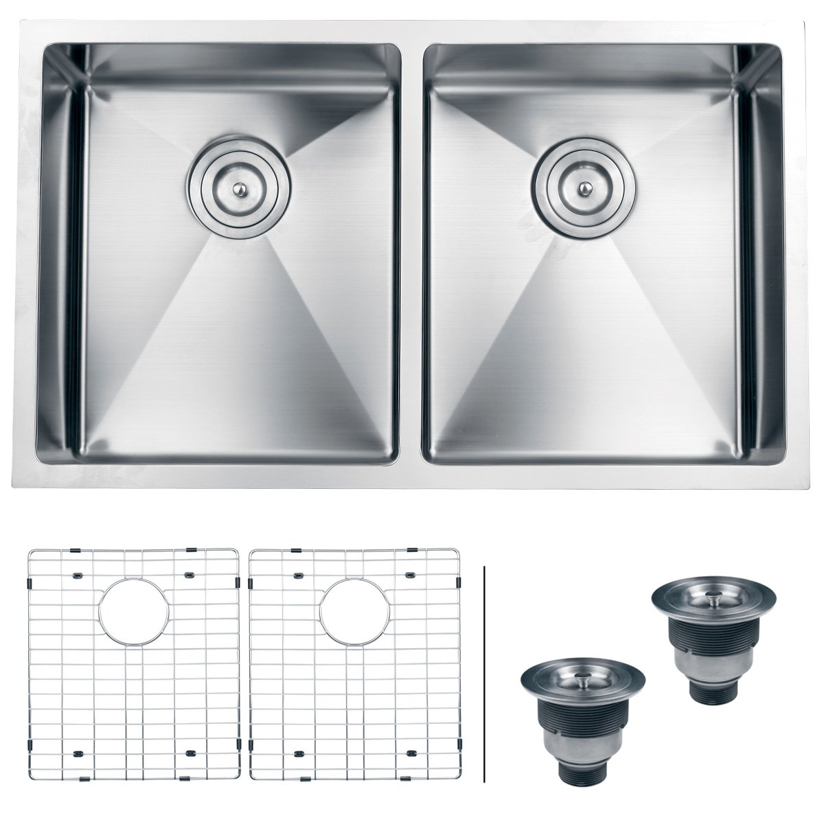 ruvati rvh7401 undermount 16 gauge kitchen sink double bowl 32   stainless steel     amazon com ruvati rvh7401 undermount 16 gauge kitchen sink double bowl 32      rh   amazon com