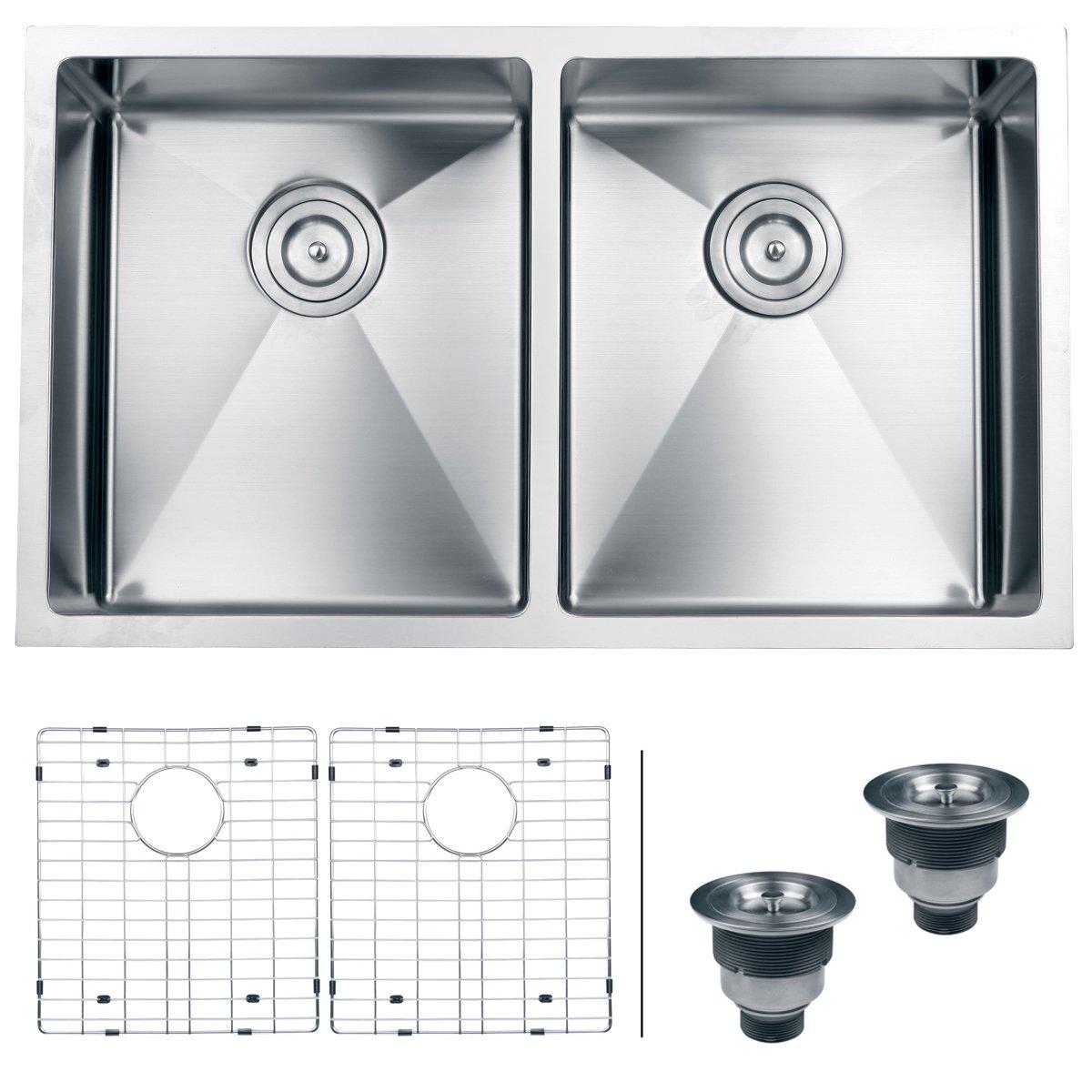 Ruvati 32-inch Undermount 50/50 Double Bowl Tight Radius 16 Gauge Stainless Steel Kitchen Sink - RVH7401