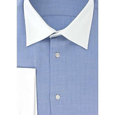 meilleur service 53b51 98ef5 Cotton Park - Chemise Classique Bleu col Blanc Poignets ...