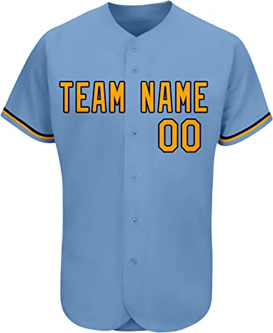 Custom Men//Women//Youth Baseball Jersey with Embroidered Team Name and Number Button Down Short Sleeve Shirts