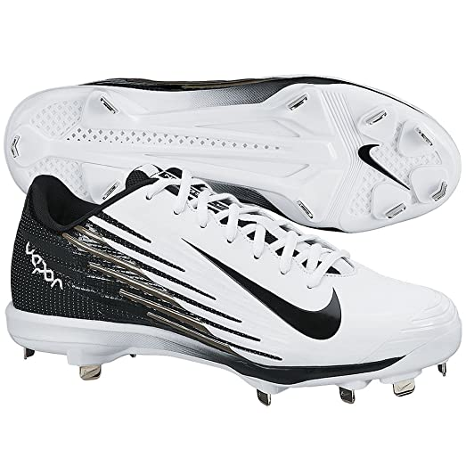 Nike Mens Lunar Vapor Pro Metal Cleats 14 US White/Black/Black