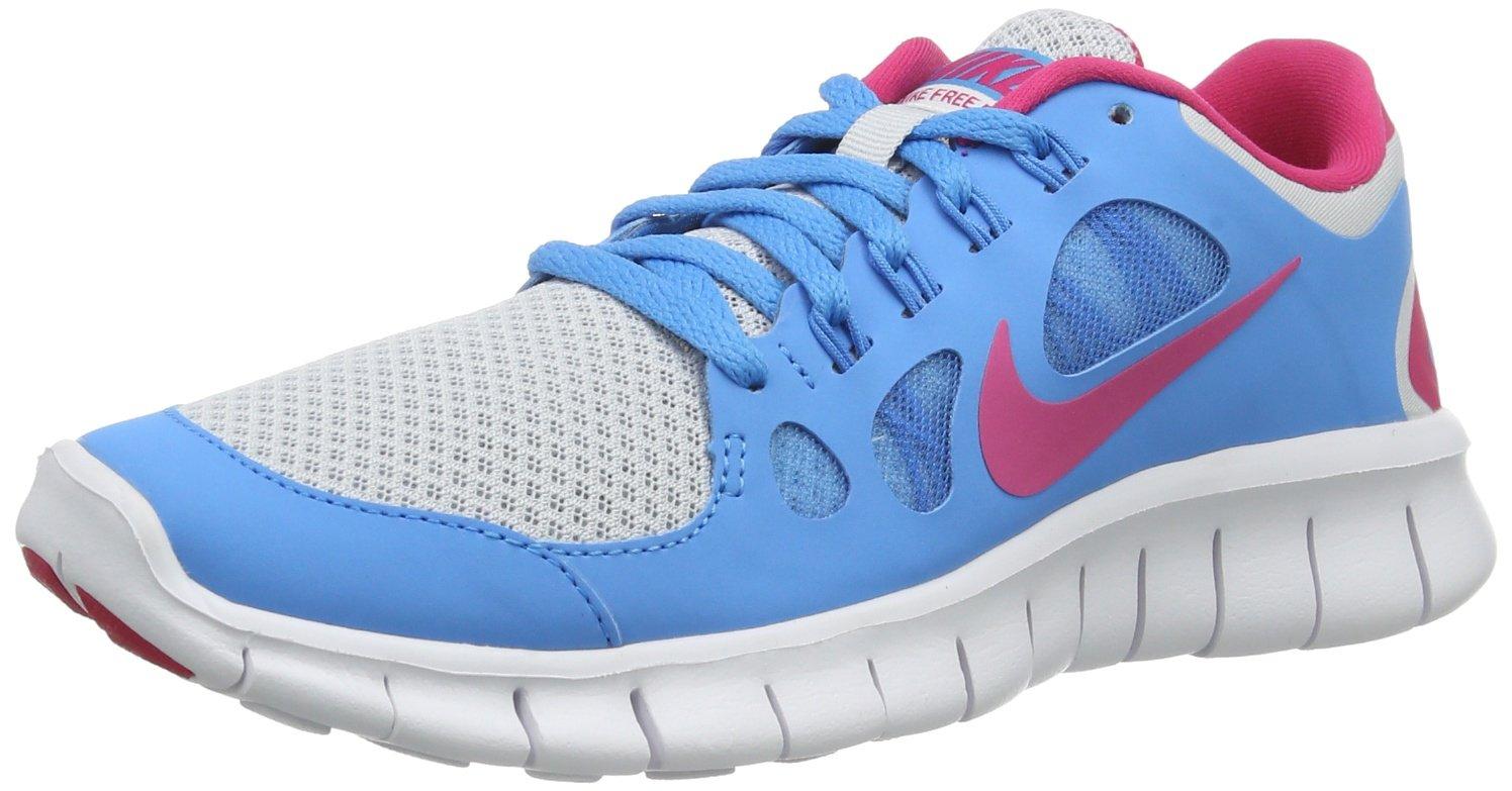 NIKE Free 5.0 Gradeschool Girl's Running Shoes B00CZCCNMO 5.5 M US Big Kid|Pure Platinum/Vivid Blue/White/Vivid Pink