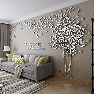 3D Huge Couple Tree DIY Wall Stickers Crystal Acrylic Wall Decals Wall Murals Nursery Living Room Bedroom TV Background Home Decorations Arts (Silver-Right, L)