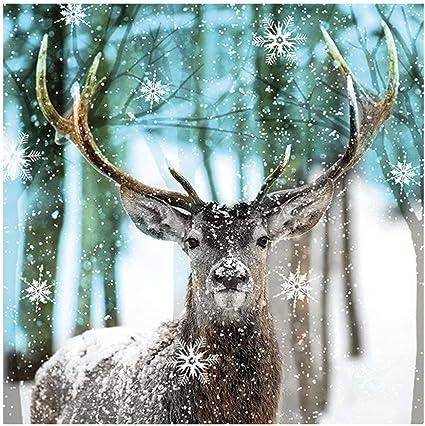 Ambiente Luxury Paper Napkins Pack of 20 Deer in Snow Design Serviette.