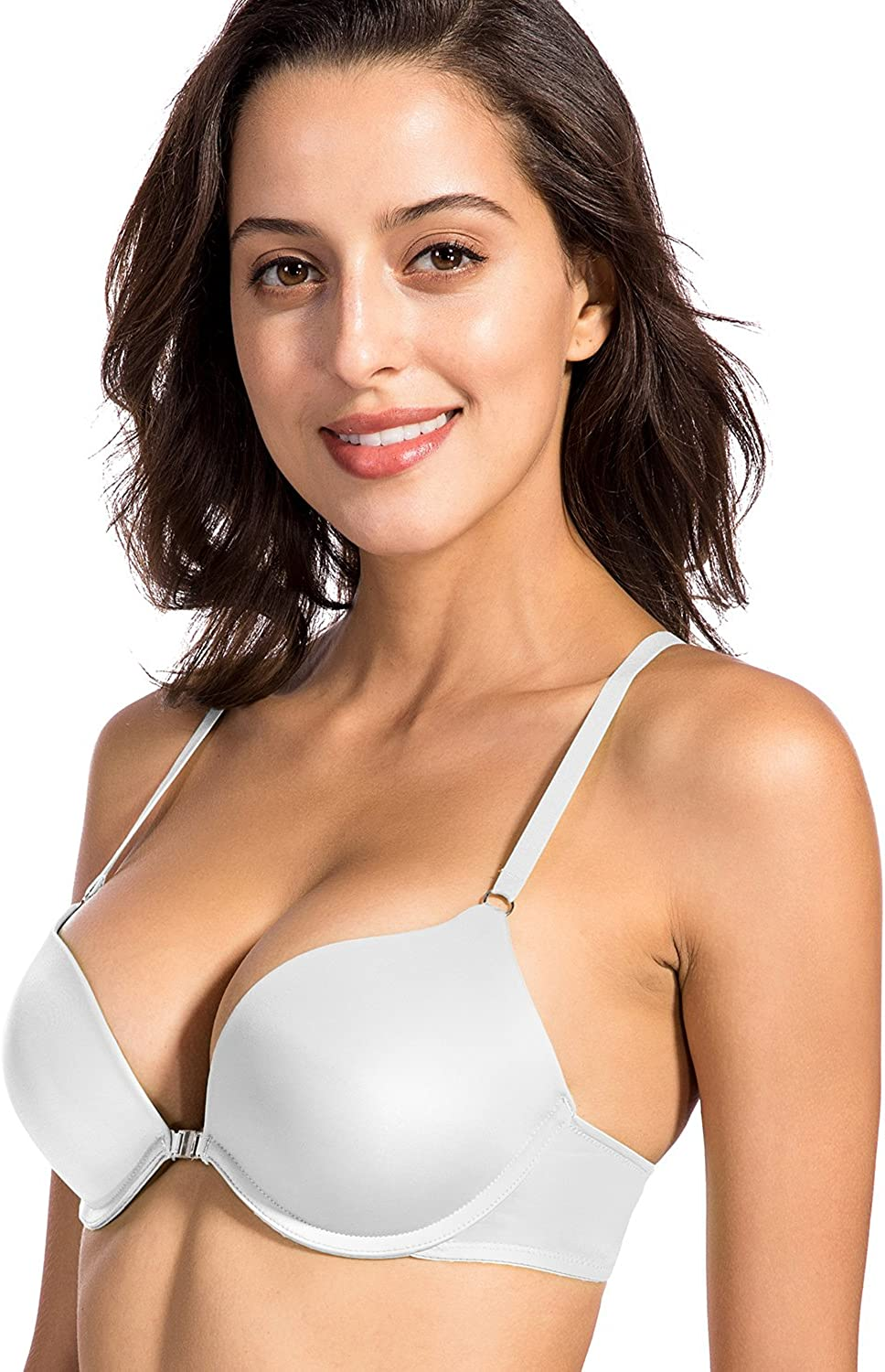 Dobreva Womens Smooth Front Closure Padded Push Up Underwire X-Back Plunge Bra