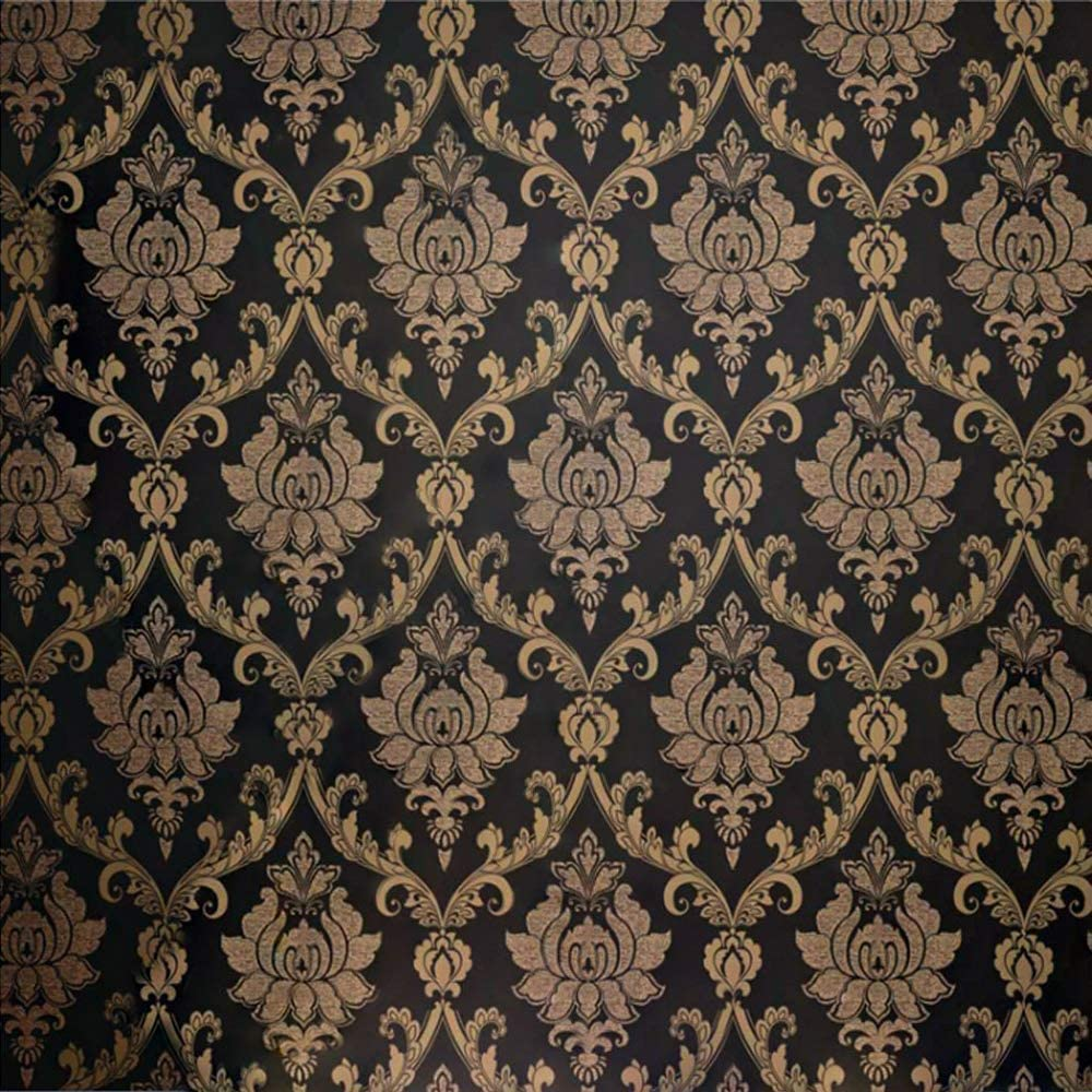 Qihang European Style Gold Flecked Process Damask Non Woven Wallpaper Black Colors 0 53m 1 73 X 10m 32 8 5 3 57sqft Amazon Com