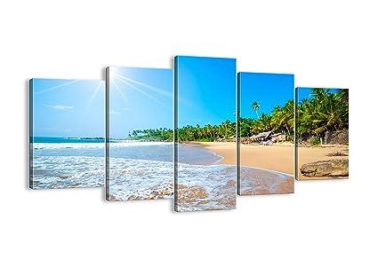 Amazon.com: Seaside Wall Art Blue Beach Painting Ocean Canvas Modern ...