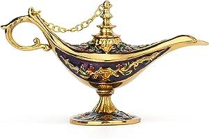FASALINO Magic Genie Lamp Wishing Trinket Box Classic Vintage Ornaments Metal Craft Gift for Home Decor (Purple)