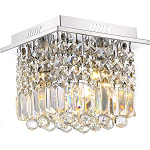 7PM Square Rain Drop Clear K9 Crystal Ceiling Light Lamp Modern contemporary Chandelier Lighting Fixture for