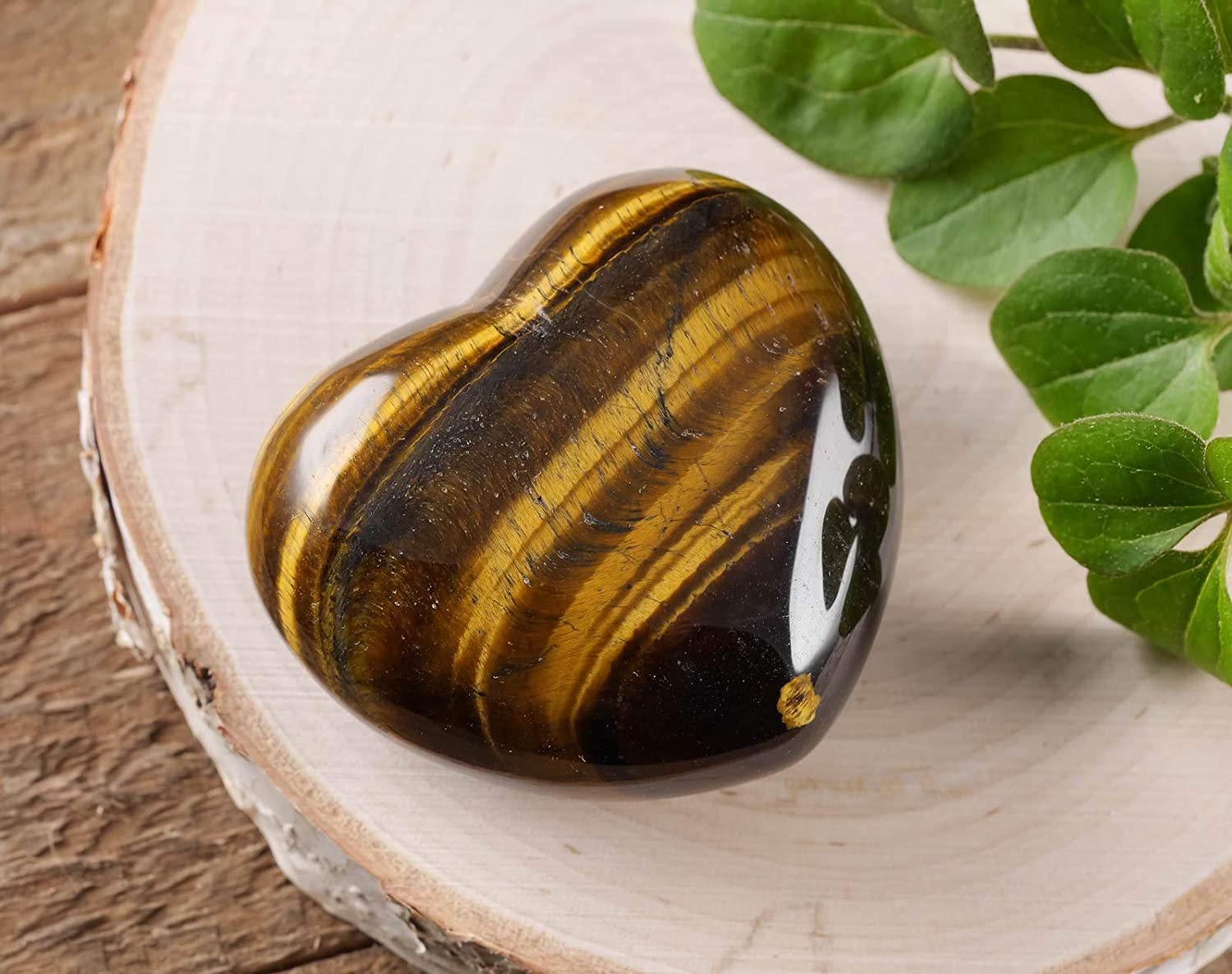 Medium Golden Tigers Eye Heart Crystal Pendant Gift for Protection /& Success