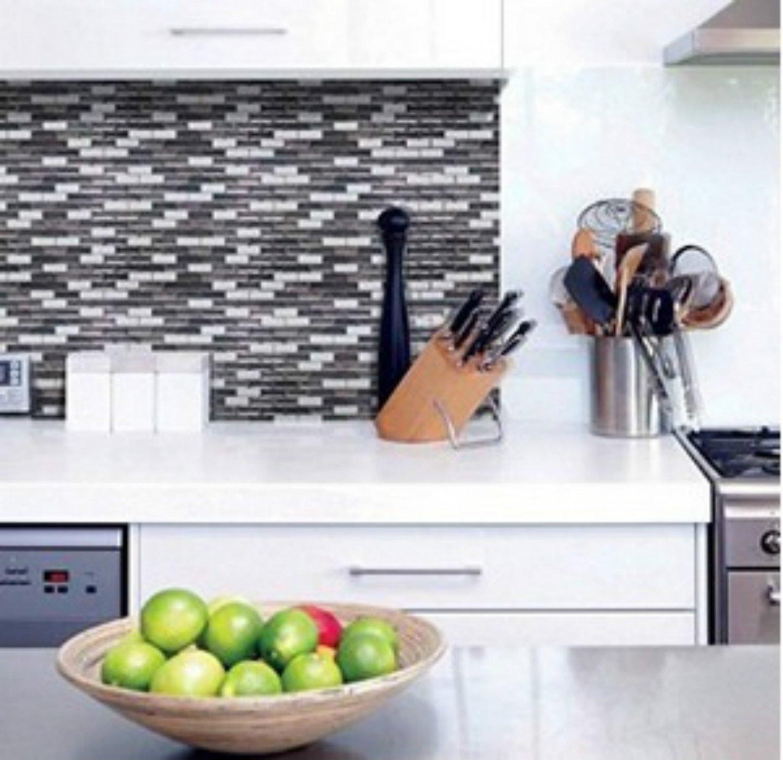 Grau Weiß Braun selbstklebend 3D Aufkleber Glitzer PU Küche ...