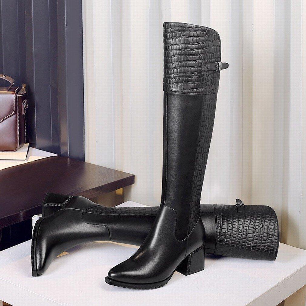 GZZ Winter Schuhe Steinmuster Steinmuster Steinmuster Hohen Zylinder Ritter Stiefel Seitlichem Reißverschluss Plus Kaschmir Warm mit Frauen 'S Stiefel b1a25f