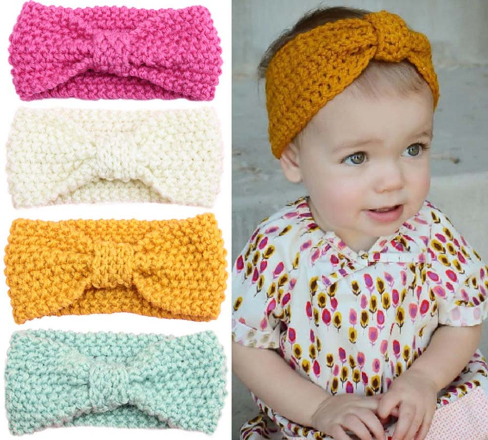Tukistore 4 pezzi Unisex Baby Boys Girls Winter Knitted Headband Crochet Headwrap Crochet Knit Bowknot Head Wraps Fascia per capelli Fascia XD0000460X-B
