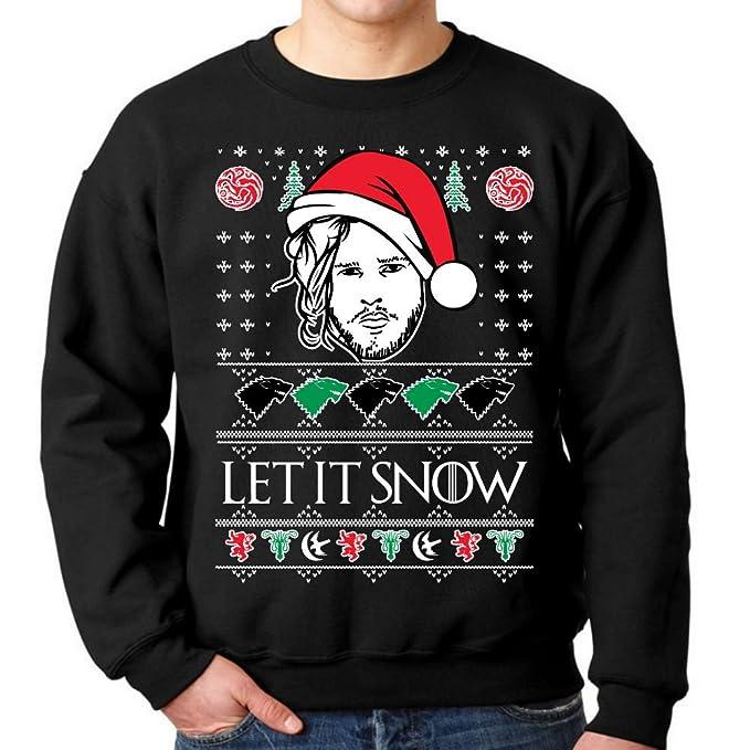 fresh tees Let It Snow Jon Snow Ugly Christmas Sweatshirt (Small, Black)