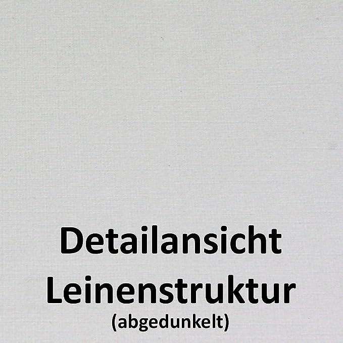 mit Fenster 50 St/ück I PREMIUM Umschl/äge DIN LANG I Leinen Natur-Weiss I Zanders ZETA Haftklebung