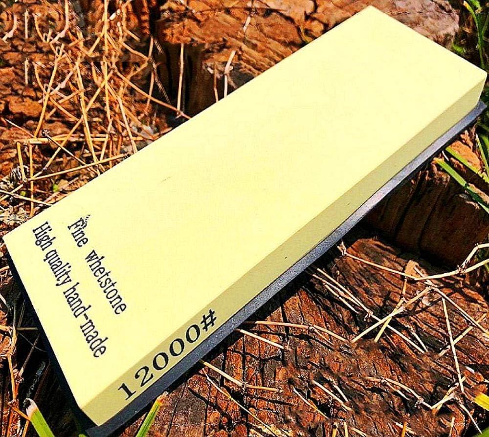 SHARPP Clase Magistral de Piedra de afilar de Piedra de afilar de Grano 12000 para Pulido Hecha por corindón Blanco Profesional Afilador de Piedra de afilar Base de Soporte de Goma