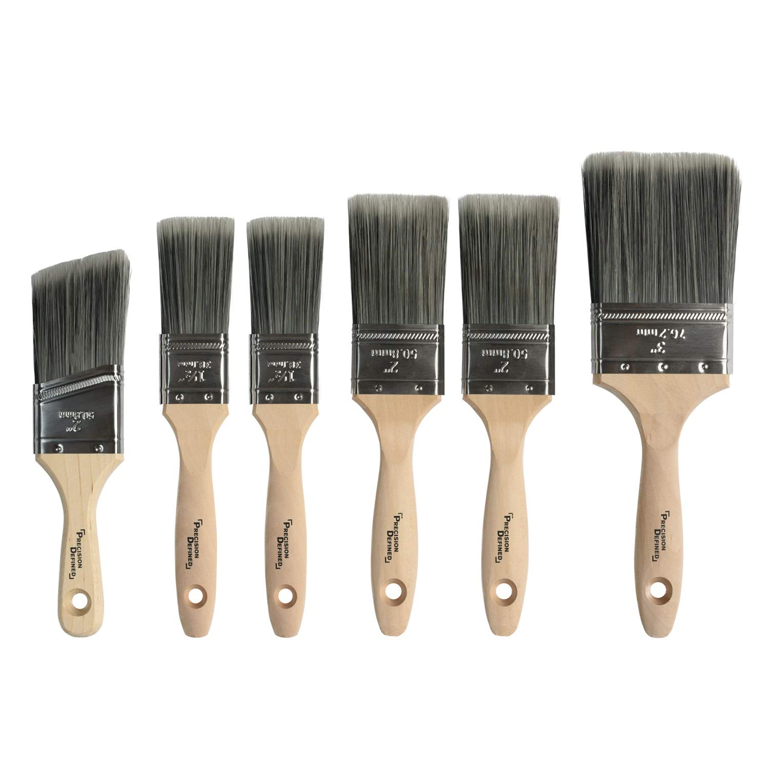 Precision Defined Heavy-Duty Professional 6 Piece Paintbrush Set, with Firm Bristles and Natural Birch Handles by Precision Defined