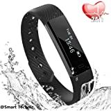 Fitness Tracker, Heart Rate Monitor Tracker Smart Bracelet Activity Tracker Bluetooth Pedometer with Sleep Monitor Smartwatch for iPhone 7 7 Plus 6 Samsung S8 and Other Android or iOS Smartphone-Black