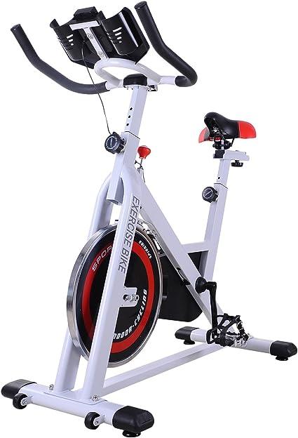 HOMCOM Bicicleta Estática Bicicleta de Fitness Pantalla LCD Asiento y Manillar Ajustable Resistencia Regulable Carga 120kg 107x48x100cm Acero Blanco