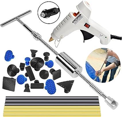 R/éparation dent de Paintless Paintless Dent Puller Slide Enl/èvement De R/éparation De Marteau Gr/êle Kit De Pistolet /À Colle 49 pcs Carrosserie outils kits