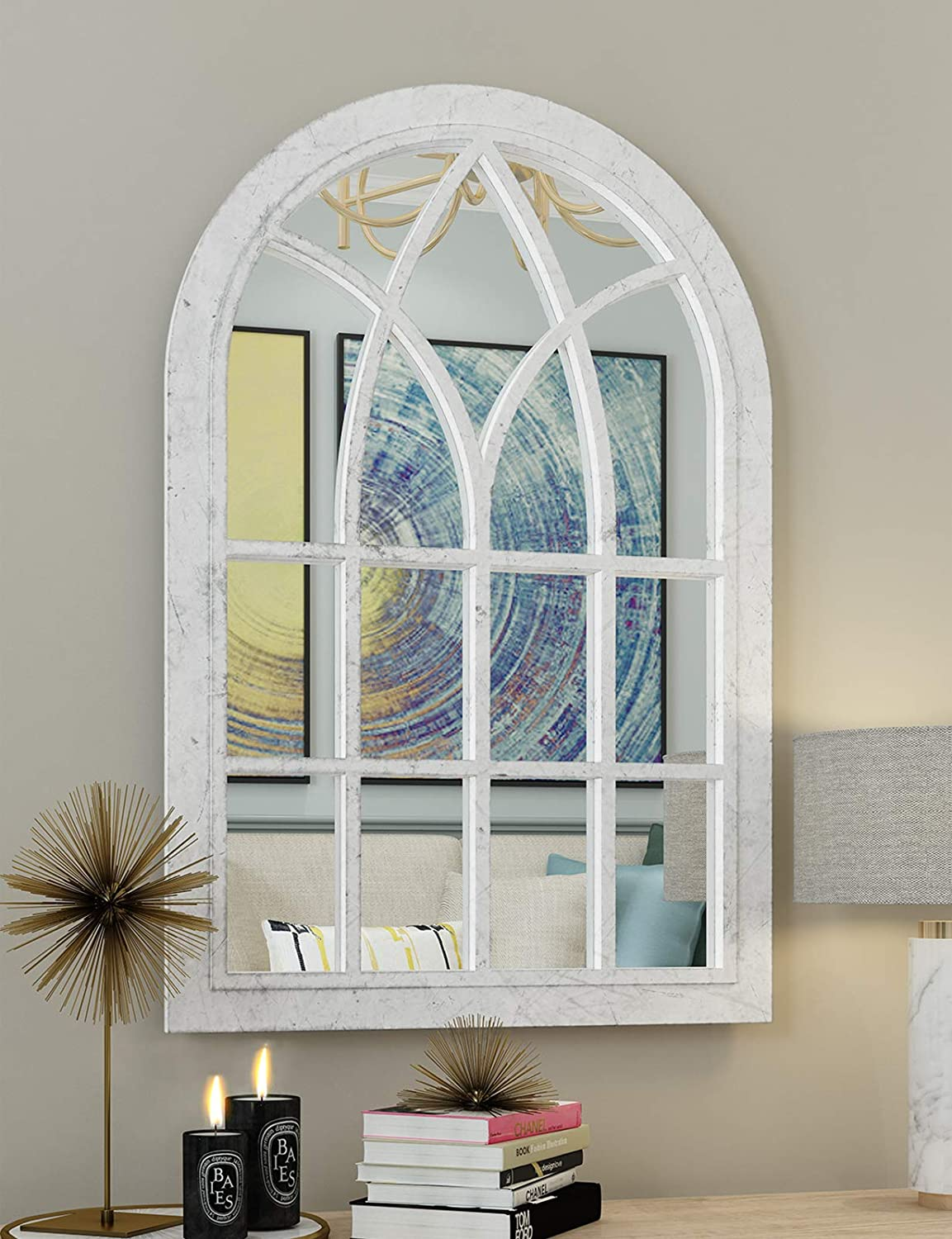 White Arched Windowpane Wall Mirror - Wall Mirror Decorative Farmhouse with Plastic Frame for Living Room Balcony Livingroom Washroom 36