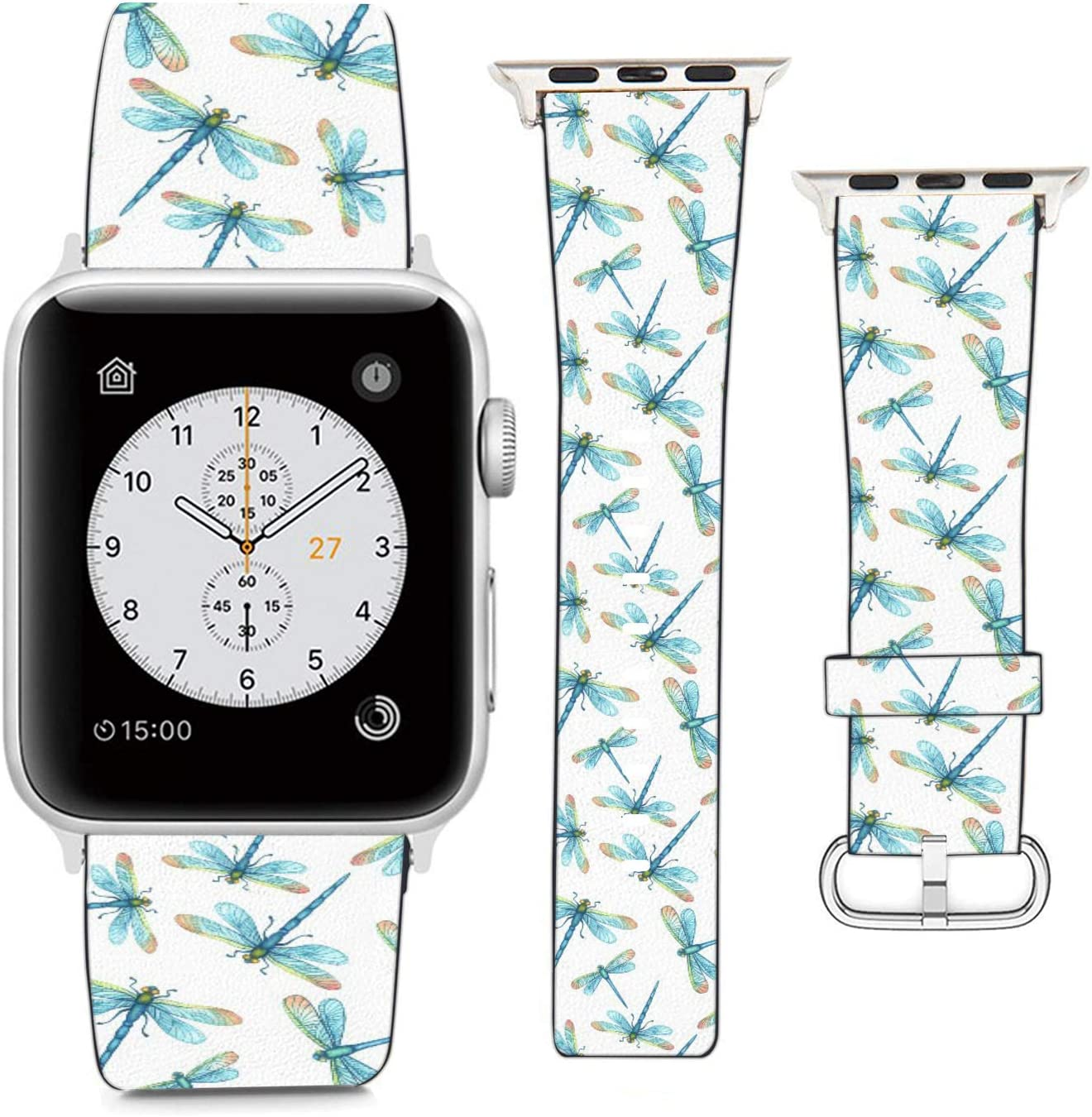 Compatible with Apple Watch Wristband 38mm 40mm, (Dragonflies Pattern) PU Leather Band Replacement Strap for iWatch Series 5 4 3 2 1