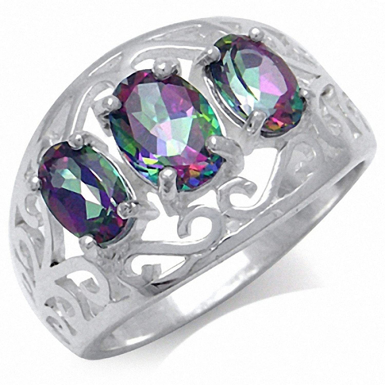 1.99ct. 3-Stone Mystic Fire Topaz 925 Sterling Silver Filigree Ring