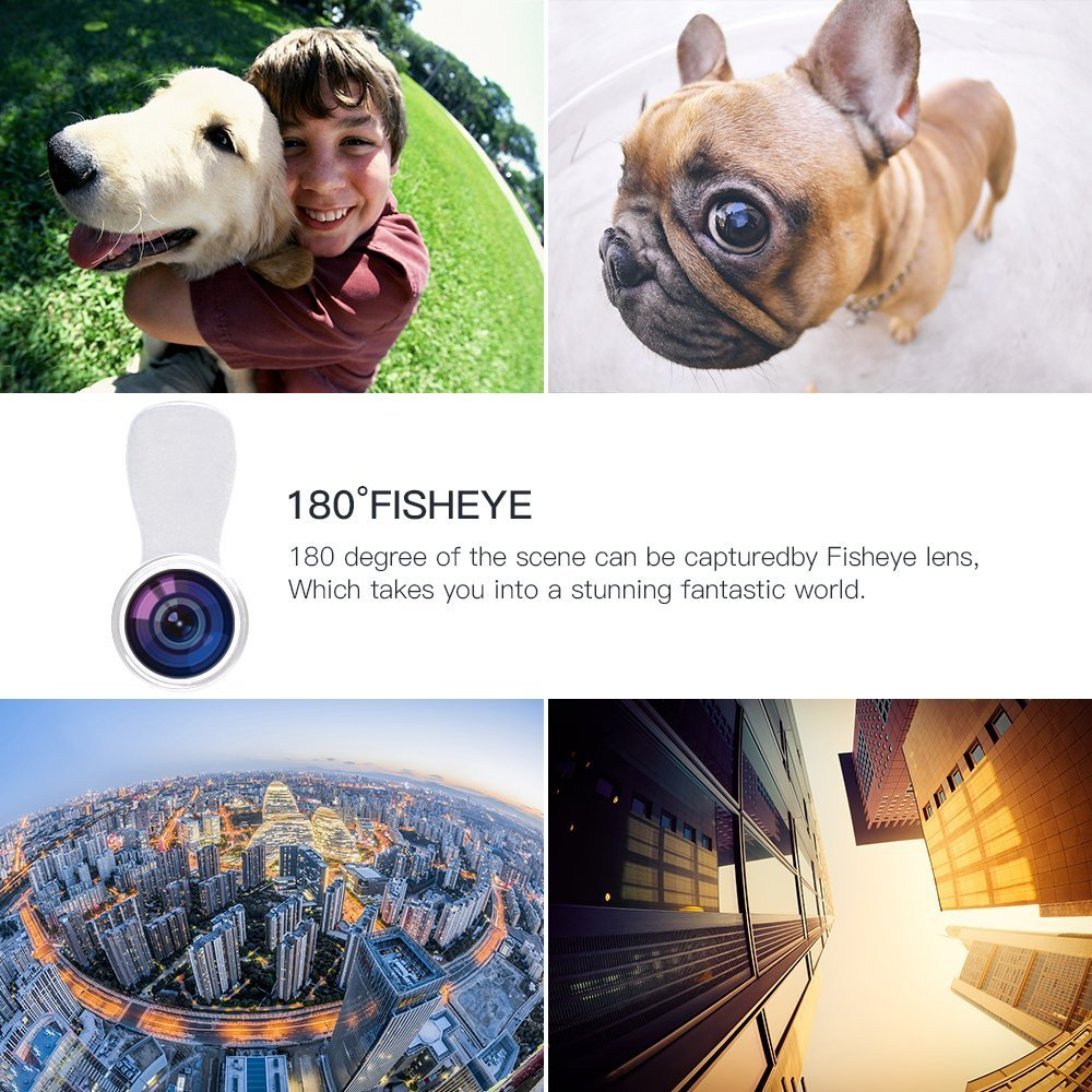 Samsung Huawei Evershop 3 in 1 Phone Lens Universal HD Camera Lens Kit Clip on Cell Phone Lens with 140/°Wide Angle Lens+15X Macro Lens+180/°Fisheye Lens for iPhone Silver