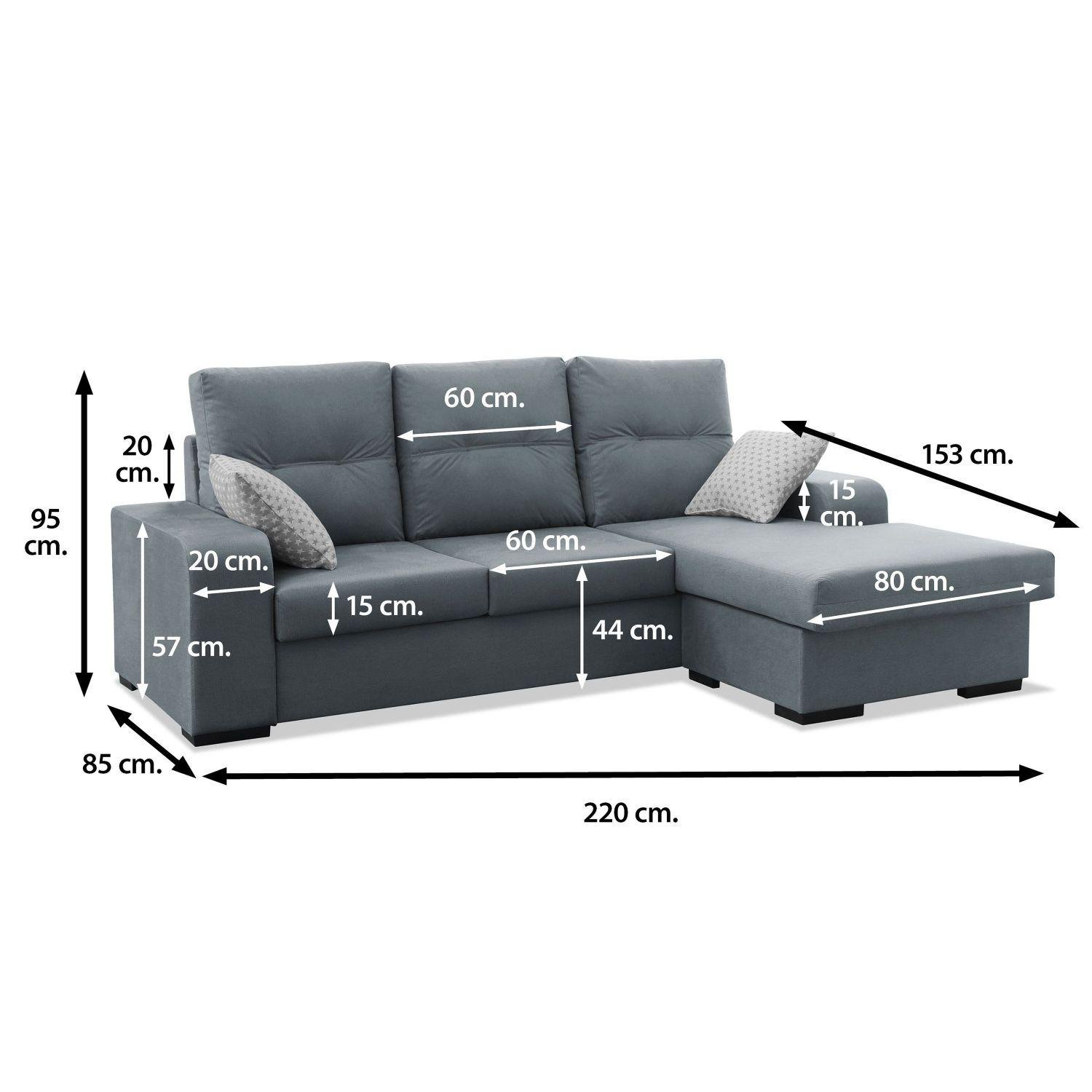 Mueble Sofa con Chaise Longue 3 plazas color gris cheslong ...