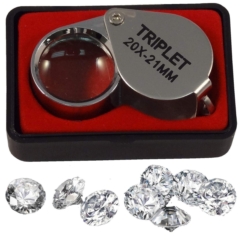 Mini 20 x 21mm Jeweler Loupe Eye Magnifier Magnifying Glass Triplet Energi 8_blu